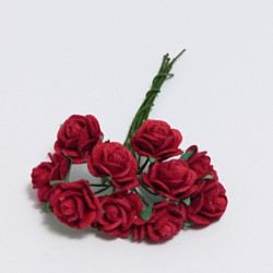 Papírová růžička 1,5cm, červená, 10ks