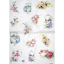 Papír rýžový 35x50 Květinové motivy menší
