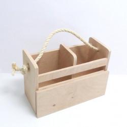Dřev.stojánek na příbory s přihrádkou na jídelní lístek - přírodní