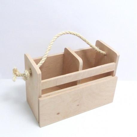 Dřev.stojánek na příbory s přihrádkou na jídelní lístek