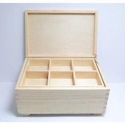 Dřevěná krabice s vyndávacími přihrádkami