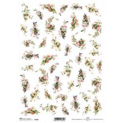 Papír rýžový A4 Malé kytičky, barevné růže