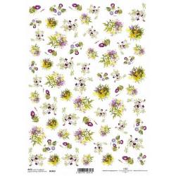 Papír rýžový A4 Malé kytičky, fialky, svlačec, luční kvítí