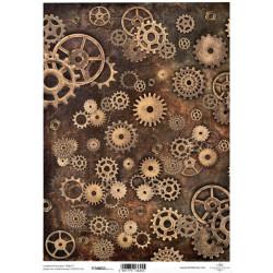 Papír pro scrapbook 200g A4 - vintage, ozubená kolečka