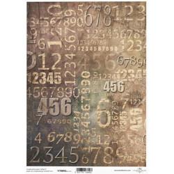 Papír pro scrapbook 200g A4 - vintage, číslice