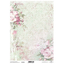 Papír pro scrapbook 200g A4 - vintage růže, ornamenty