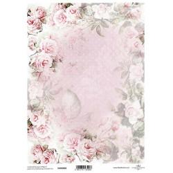 Papír pro scrapbook 200g A4 - vintage růže, tečky