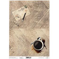 Papír pro scrapbook 200g A4 - káva, starý dopis