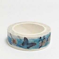 Papírová páska 15mm/10m - modrý motýl