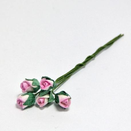 Papírové poupě 4mm - růžovo-bílá, 5ks