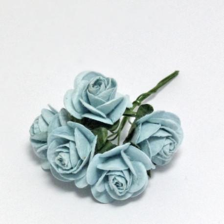 Papírová růžička 2,5cm, baby modrá, 5ks