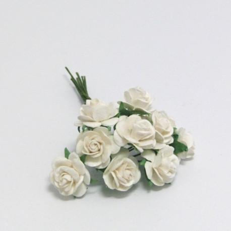 Papírová růžička 1,5cm, bílá, 10ks