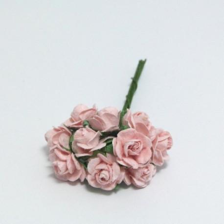 Papírová růžička 1,5cm, světlá růžová, 10ks