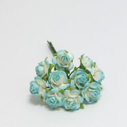 Papírová růžička 1cm, bílo-modrá, 10ks