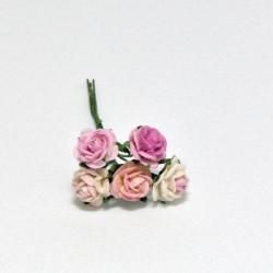 Papírová růžička 1cm, směs růžových, dvoubarevných, 5ks
