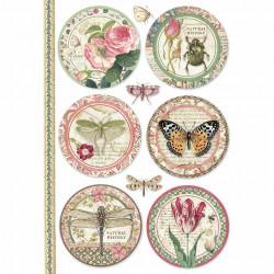 Papír rýžový A4 Botanic, motivy v kruzích