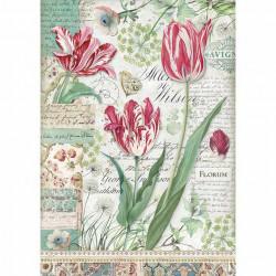 Papír rýžový A4 Červené tulipány
