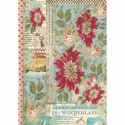 Papír rýžový A4 Červené květy