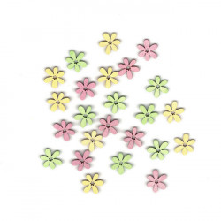 Dřev.dekorace barevné - květy typ 4, 2cm, 24ks