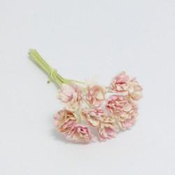 Papírová gypsophila 10mm - růžová/slonová kost, 10ks