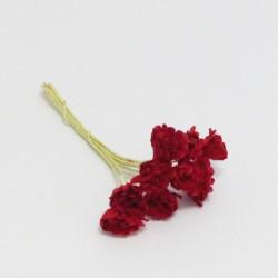 Papírová gypsophila 10mm - červená, 10ks
