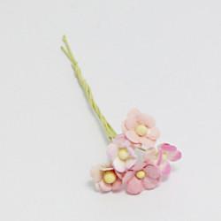 Směs drobných papírových květů 10mm, dorůžova, 5ks
