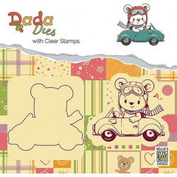Set razítka a šablony - medvídek v autě (Nellie´s