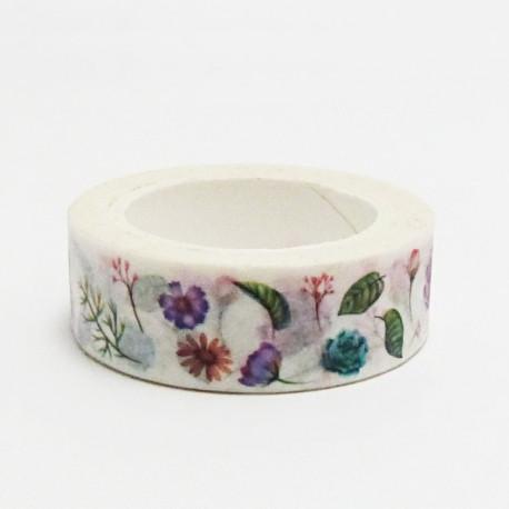 Papírová páska 15mm/10m - květiny a lístky