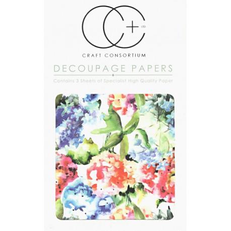 Zahrada, akvarel - set 3 papírů pro decoupage CC
