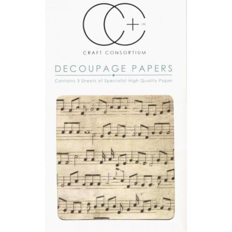 Starý notový záznam - set 3 papírů pro decoupage C