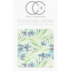 Modré kosatce - set 3 papírů pro decoupage CC