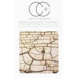 Krakelovaný povrch - set 3 papírů pro decoupage CC