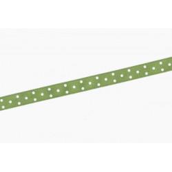 Saténová stuha s puntíky, 10mm - zelená světlá