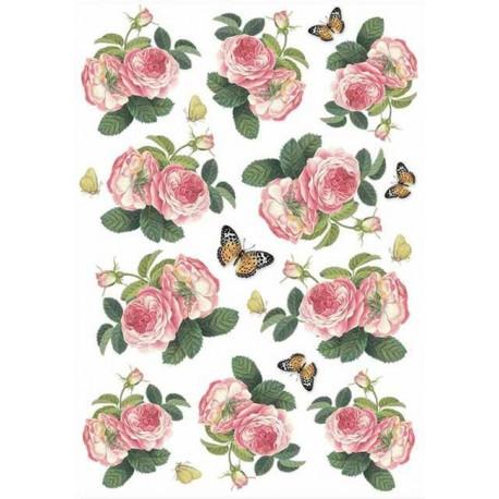 Papír rýžový A4 Růže a motýlci