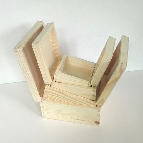 Dřevěné krabice 4v1 - čtvercový tvar