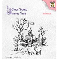Transp.razítko Zimní scéna s kostelem (Nellie´s Choice)
