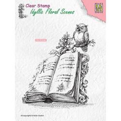 Transp.razítko Idylická scéna - kniha a sova (Nellie´s Choice)