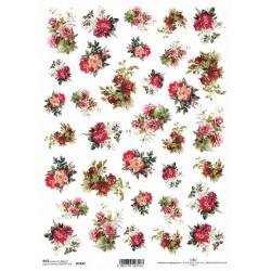 Papír rýžový A4 Malé kytičky, různé růže