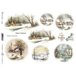 Papír rýžový A4 Zimní motivy v kruzích, krajina s domky a se srnkami