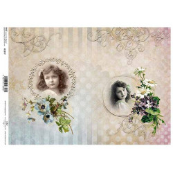 Papír rýžový A4 Dva obrázky dívek, kopretiny, fialky