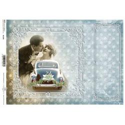 Papír rýžový A4 Svatební auto, novomanželé
