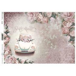 Papír rýžový A4 Svatební auto s růžemi