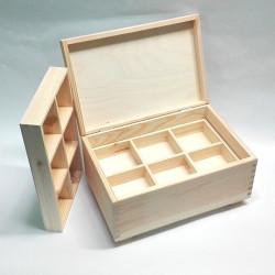 Dřevěná krabice s 2 vyndávacími přihrádkami