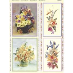 Papírové výřezy 3D - Jarní květy v koši (2 listy)