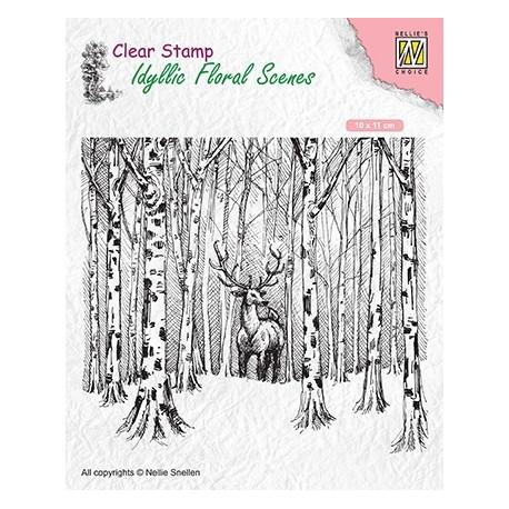 Transp.razítko Idylická scéna - jelen mezi stromy (Nellie´s Choice)