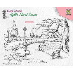 Transp.razítko Idylická scéna - zimní park s lavičkou (Nellie´s Choice)