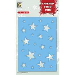Vyřezávací šablona Layered Combi Dies - hvězdy B