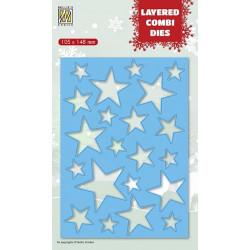Vyřezávací šablona Layered Combi Dies - hvězdy A