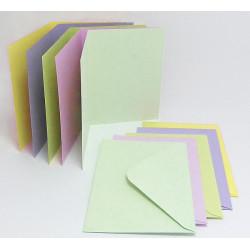 Sada přáníček a obálek A6 50ks mix světlých pastelových barev