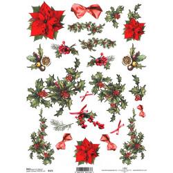 Papír rýžový A4 Cesmína a vánoční hvězda